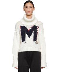 Moncler White Pullover Aus Acrylmischstrick