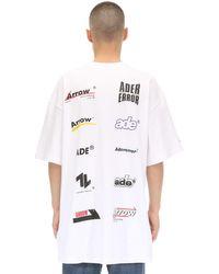 メンズ ADER ERROR オーバーサイズ コットンジャージーtシャツ White