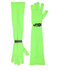 Prada - Green Logo Intarsia Tech Knit Long Gloves - Lyst