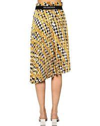 Balenciaga プリーツライトサテンスカート Yellow