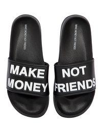 MAKE MONEY NOT FRIENDS ロゴ スライドサンダル Black