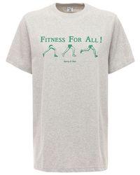 Sporty & Rich Asics Collab コットンtシャツ Gray