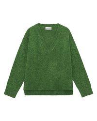 Ganni Green Wool Blend V Neck Knit Sweater