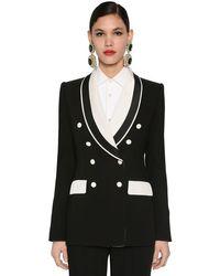 Dolce & Gabbana カディストレッチ バイカラーテーラードジャケット Black