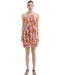 Emilio Pucci Pink Ruffled Crepe De Chine Dress