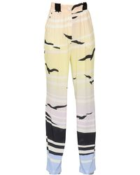 Daniele Carlotta Natural Printed Fluid Viscose Pinpoint Pants