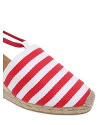 Castaner Red 60mm Striped Canvas Lace Up Espadrilles