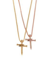 DSquared² - Metallic Double Nail Crosses Necklace - Lyst