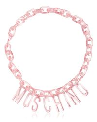 Moschino - Pink Logo Lettering Chain Necklace - Lyst