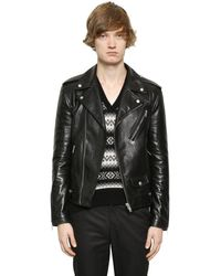 Giacca Biker In Pelle di Alexander McQueen in Black da Uomo