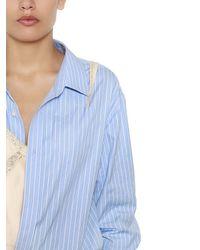 Alexander Wang Blue Striped Shirt Bodysuit & Satin Camisole