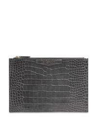 Givenchy Gray Lederbeutel Mit Krokoprägung