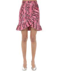 MSGM パイソン柄プリント テクノフリルミニスカート Pink