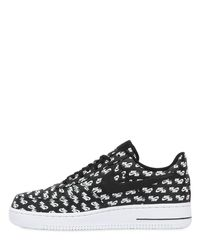 Nike Black Air Force 1 '07 Logo Leather Sneakers for men