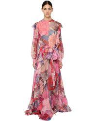 Платье Из Шёлкового Шифона С Принтом Valentino, цвет: Pink