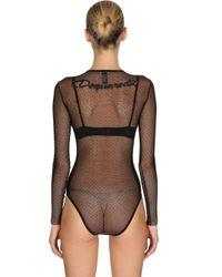 DSquared² Black Back Logo Stretch Sheer Tulle Bodysuit