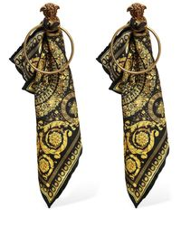 Versace Metallic Baroque Sash Hoop Earrings