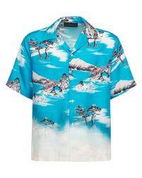 メンズ Amiri Aloha シルクシャツ Blue