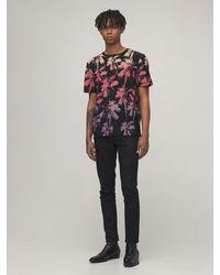 メンズ Saint Laurent プリントコットンジャージーtシャツ Black