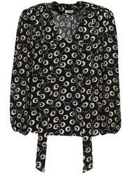 Rixo Black Moss Printed Silk Crepe De Chine Shirt