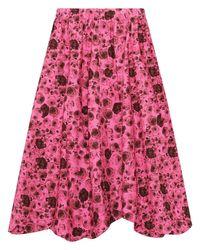 Falda Midi De Popelina De Algodón Orgánico Ganni de color Pink