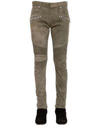 """Jeans """"biker Washed"""" De Denim Stretch 16cm Balmain de hombre de color Green"""