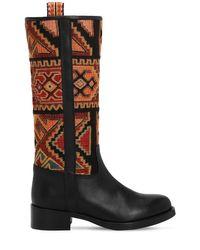 Etro Black 30mm Hohe Stiefel Aus Leder Und Samt