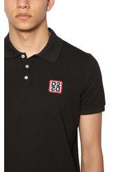 メンズ DSquared² コットンピケポロシャツ Black