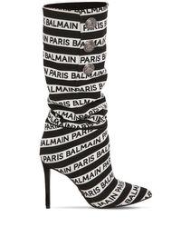 """Bottes En Tissu Avec Logo """"jane"""" 95 Mm Balmain en coloris Black"""