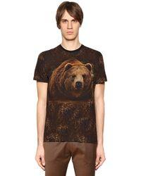 Etro Brown Bear Printed Cotton Jersey T-shirt for men