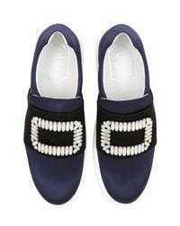 Roger Vivier Black Sneaky Viv Silk-Satin Sneakers