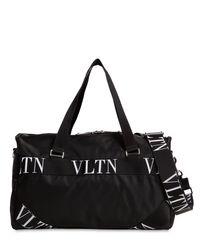 メンズ Valentino Vltn ロゴ スモール ナイロンボストンバッグ Black