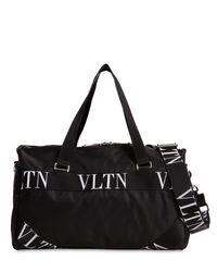 メンズ Valentino Garavani Vltn ロゴ スモール ナイロンボストンバッグ Black