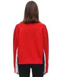 3 MONCLER GRENOBLE ダブルナイロン&ウール スウェットシャツ Red