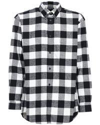 メンズ Balenciaga オーバーサイズコットンフランネルシャツ Black