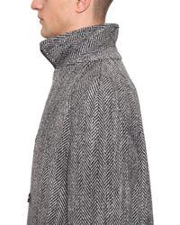 メンズ Dolce & Gabbana ウール ダブルブレストヘリンボーンコート Gray