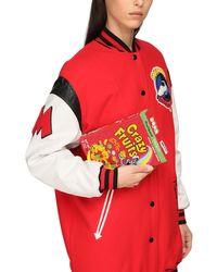 """Moschino Red Clutch Aus Leder Mit Stickerei """"cereal Box"""""""