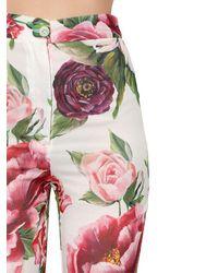 Dolce & Gabbana - Multicolor Peony-print Silk Pants - Lyst