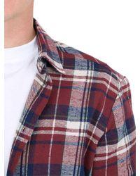 Faith Connexion Blue Plaid Brushed Cotton Flannel Shirt for men
