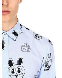 McQ Alexander McQueen - Blue Hemd Aus Baumwollpopeline Mit Stickerdruck for Men - Lyst