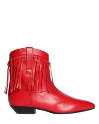 Saint Laurent - Red 25mm Titi Fringed Leather Boots - Lyst