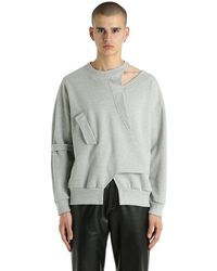 Vejas Gray Interlocking Cutout Cotton Sweatshirt for men