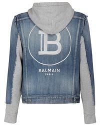 メンズ Balmain デニム&ジャージージャケット Blue