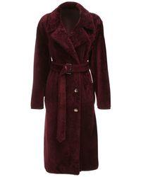 Cappotto Reversibile In Shearling E Pelle di Marni in Red