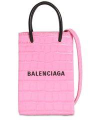 Balenciaga Shopping エンボスレザースマートフォンホルダー Pink