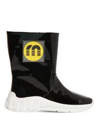 Miu Miu Black 10mm Faux Patent Leather Rain Boots