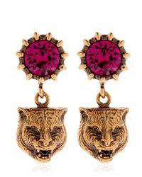 Gucci - Multicolor Feline Head & Crystal Earrings - Lyst