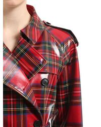 Burberry - Red Check Coated Wool Trench Coat - Lyst