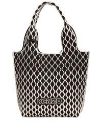 KENZO Black Flyknit Jacquard Tote Bag