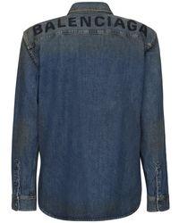 Balenciaga Hemd Aus Baumwolldenim Mit Logo in Blue für Herren